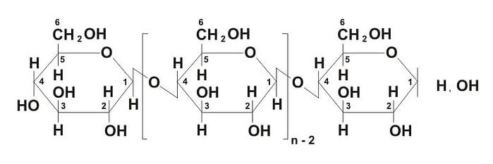 На фото структурная формула целлюлозы