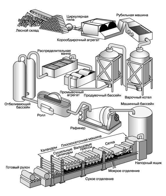 Картинка полной схемы процесса изготовления бумаги
