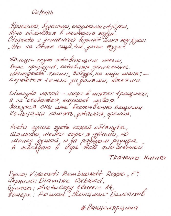 """Это скан стихов под названием """"Остынь"""", их автор мой друг Ткаченко Никита. Стихи написаны перьевой ручкой Visconti Rembrandt Rosso с пером F, чернилами Diamine Oxblood"""