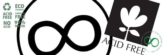 Логотипы бескислотной бумаги acid-free paper