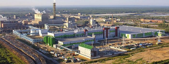 Панорама завода по производству бумаги в Коряжме компании Inatrnetional Paper (США)