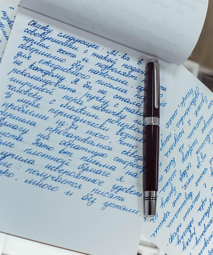 Записи, сделанные перьевой ручкой TWSBI Classic, крупным планом