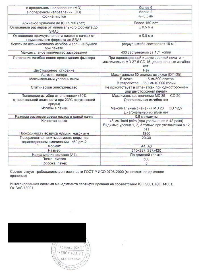 Скан расширенных технических характеристик бумаги Xerox Perfect Print, Xerox, Россия, лист второй из двух